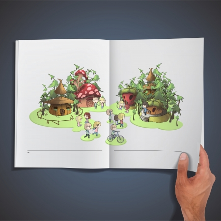 Kids playing in front houses printed on book. Illustration. Vector
