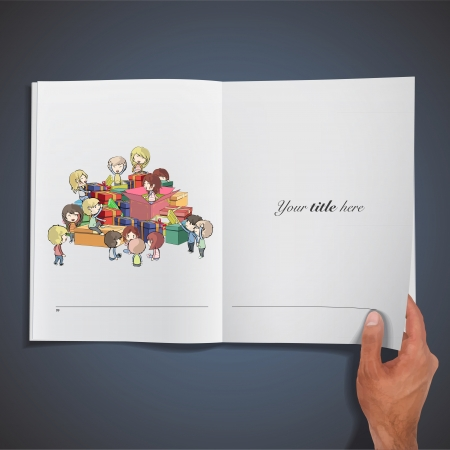 Kids around many gifts printed on book. Vector design.  Vector