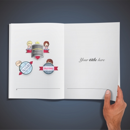 Collection of kids holding vintage labels printed on book. Vector design. Stock Vector - 21693361