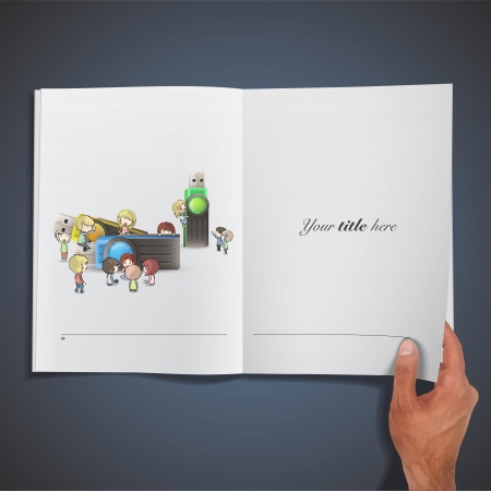 Kids playing around several pendrives printed on book. Vector design.  Vector