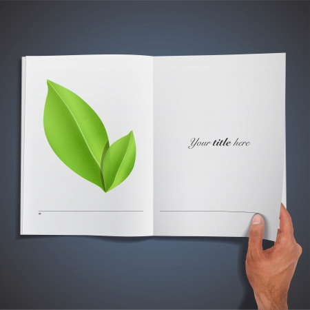 Green leaves printed on book. Illustration. Vector