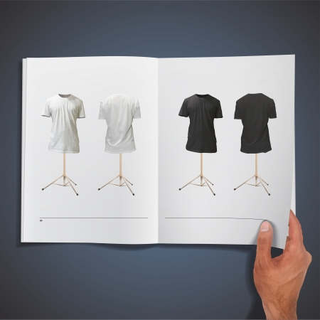 Empty black and white shirts printed on book. Illustration. Vector
