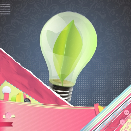 Bulb with a green sheet inside over vintage background. Vector design. Vector