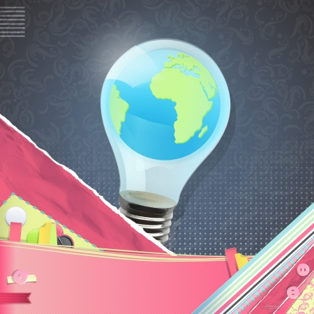 Eco light bulb with world inside over vintage background. Illustration. Vector
