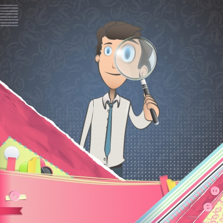 Business man with magnifying glass over vintage background.Illustration.