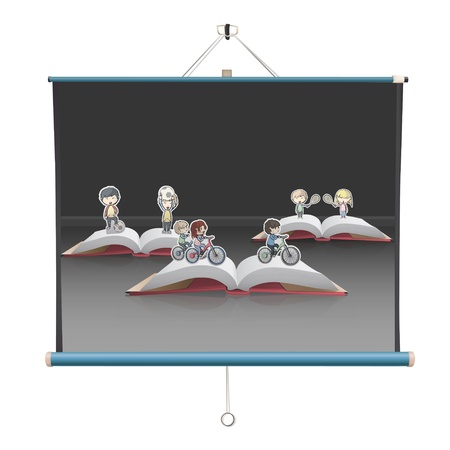 book collections over projector screen. Illustration. Vector
