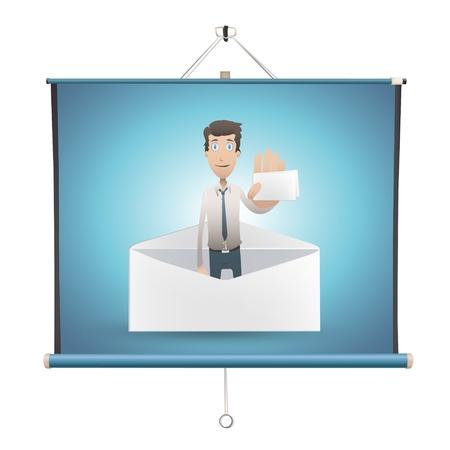 projector screen: L'uomo d'affari in possesso di carta su schermo del proiettore. Illustrazione.