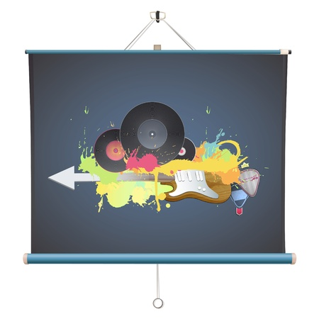 Colorful poster over projector screen. Illustration. Stock Vector - 21693483