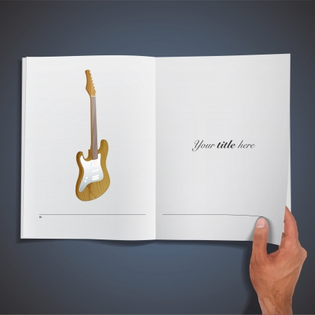 Realistic guitar printed on book. Stock Vector - 21918571
