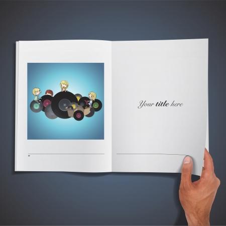 Kids holding vinyl printed on book. Stock Vector - 21918619