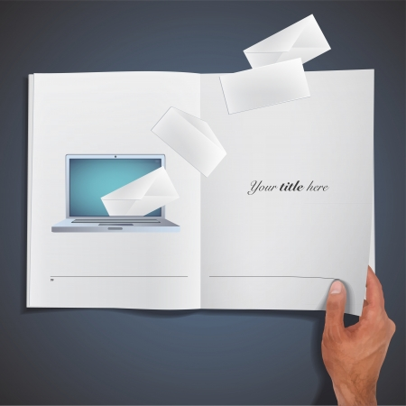Modern laptop with envelope inside printed on book. Vector design  Vector