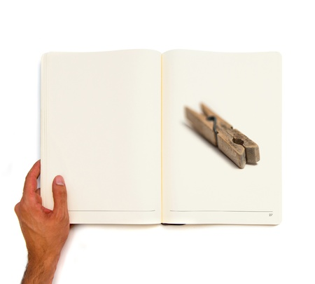 Wooden Clothespin printed on white book photo
