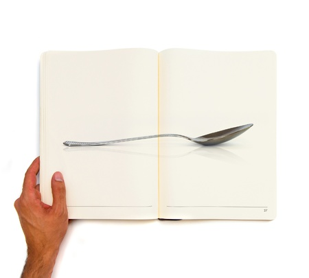 Spoon printed on white book Stock Photo - 21918602