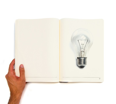 Bulb printed on white book photo
