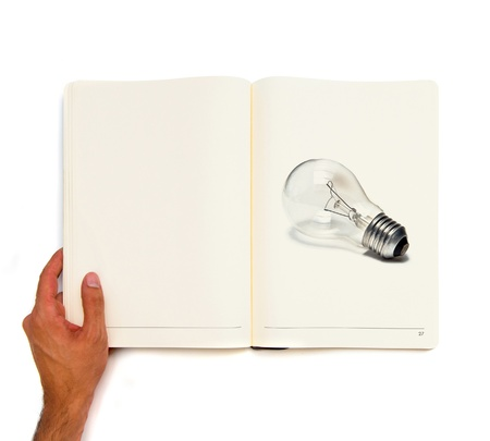 Bulb printed on white book Stock Photo - 21918651