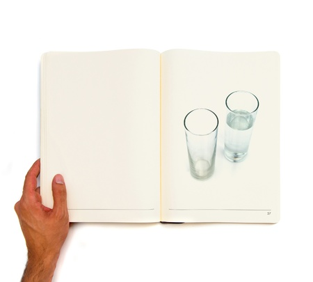 water glass printed on white book Stock Photo - 21918664