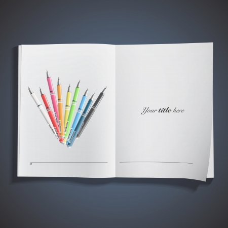 Collection of colorful pens printed on book.  Vector