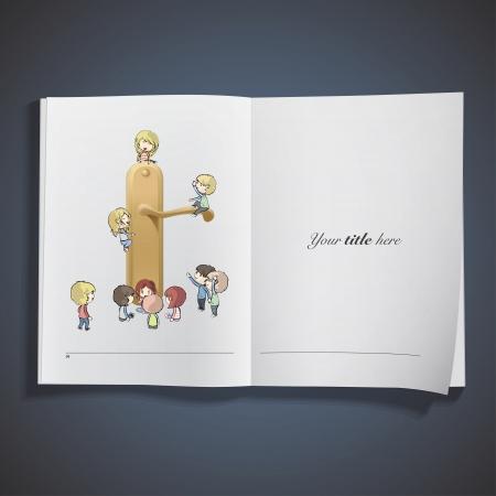 Kids around Doorknob printed on book. Stock Vector - 21918775