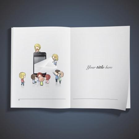 Kids around phone sending an envelope printed on book. Stock Vector - 21918787