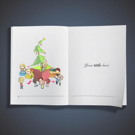 Christmas tree around presents printed on book.  Vector