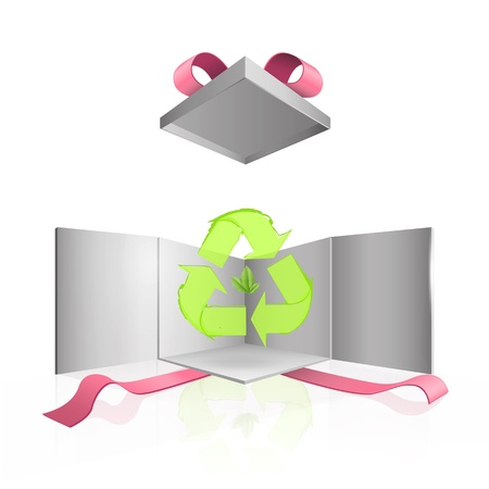 Recycle icon inside gift box.  Vector