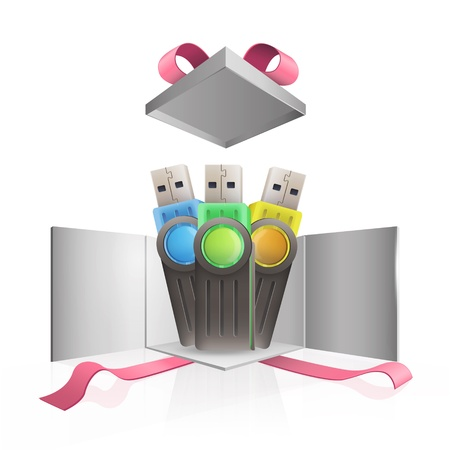 microdrive: Set of pen drives inside gift box.