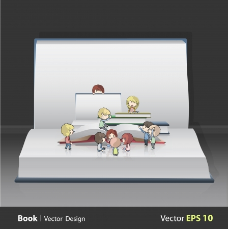 Kids around empty books inside open big book  vector design   Vector