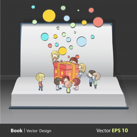 Kids around gift box on white book  vector design Stock Vector - 22109219