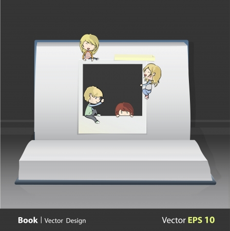 Realistic photo with kids over book  vector design Stock Vector - 22109220