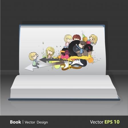 Kids around guitar tools printed on book  vector design Stock Vector - 22109221