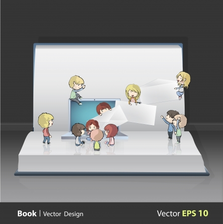 Kids around laptop printed on book Stock Vector - 22109216