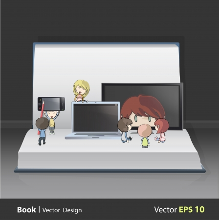 Kids holding TV, computer,CD and phone inside white book Stock Vector - 22123972