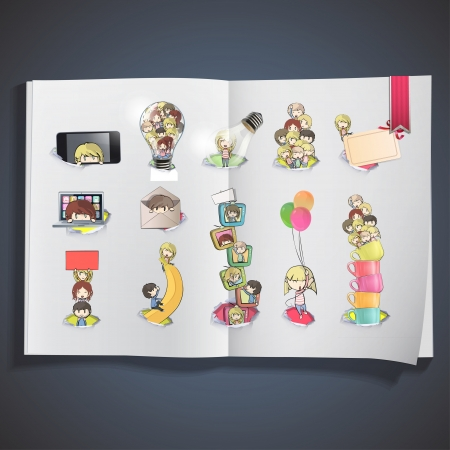 Set of cute kids printed on book  vector design   Vector