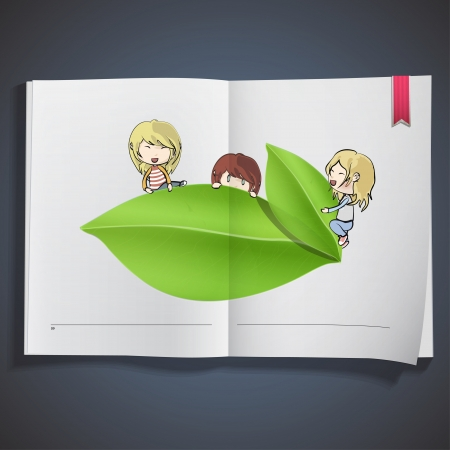 Group of kids around leaf printed on book  vector design   Stock Vector - 22124082