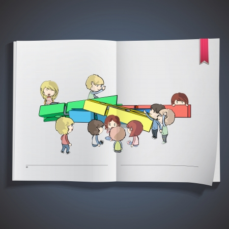 Group of kids around Clothespins printed on book  vector design   Vector