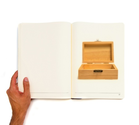 simple wood box printed on white book. photo