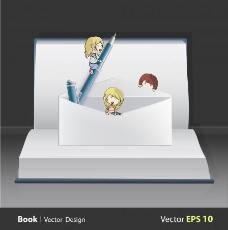 e magazine: Group of kids around envelope on white book  Vector design   Illustration