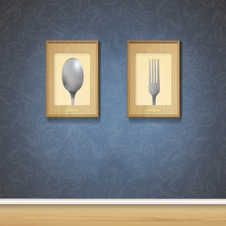 lunch room: Realistic fork and spoon on wood frame  Vector design