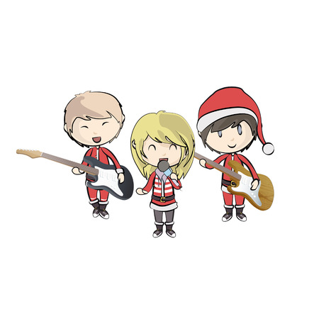 Kids with Santa Claus costume playing music. Vector design Stock Vector - 22213281