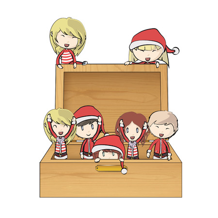 Kids with Santa Claus costume inside wood box.  Vector