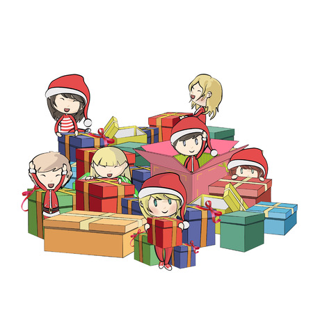 Kids with Santa Claus costume around gifts.  Vector
