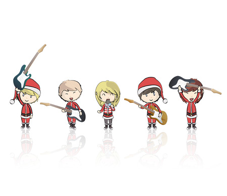 Kids with Santa Claus costume playing music.  Vector