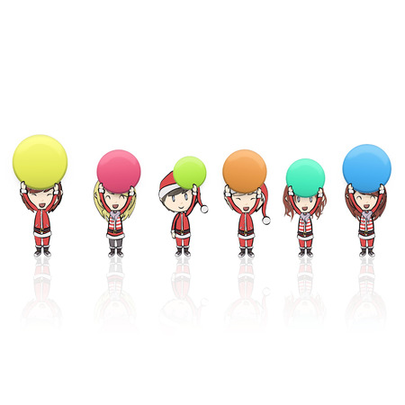 Girl with Santa Claus costume holding colorful buttons.  Vector
