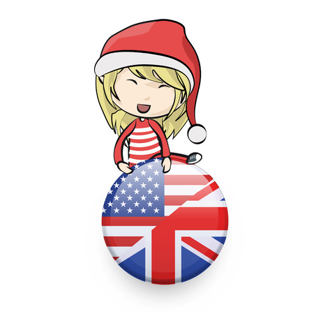 Girl with Santa Claus costume holding a english pin.  Vector