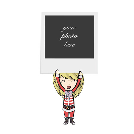 Girl with Santa Claus costume holding a photo. Stock Vector - 22219615