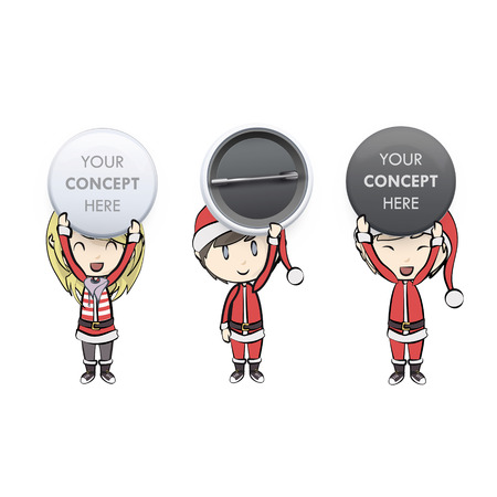 Kids with Santa Claus costume holding empty buttons.  Vector