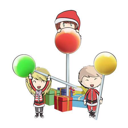 Kids with Santa Claus costume playing with lollipop.  Vector