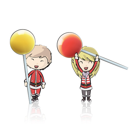 Kids with Santa Claus costume holding lollipop.  Illustration
