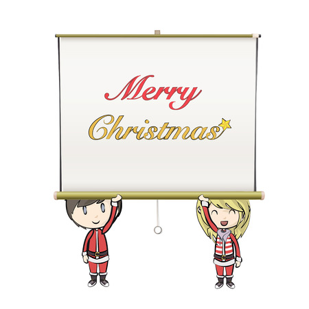 Kids with Santa Claus costume holding projector screen.  Vector