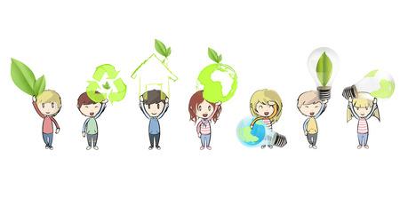 Kids holding ecological icons. Vector design.  Illustration